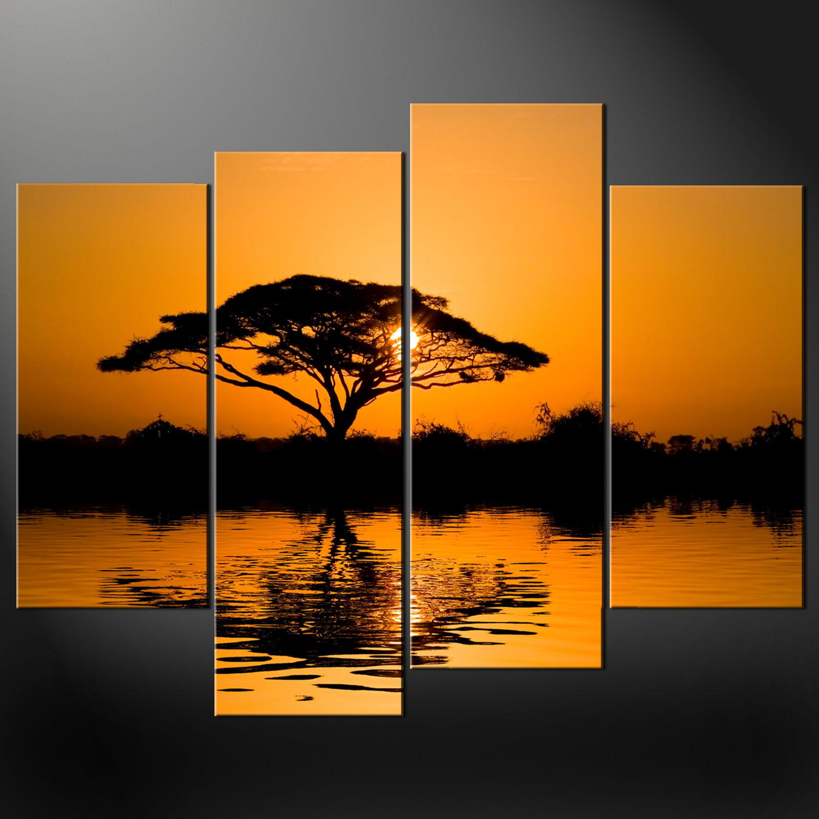 Framed 4 panel large african wall art decor modern sunset for African sunset wall mural