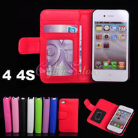 Wholesale Iphone4 Card Leather - For iphone 4 4S High Quality PhotoFrame Flip Leather Wallet Case Cover With Credit Card Slots Holder For Iphone4