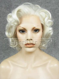 """Wig Short White NZ - 10"""" #1001 White Blonde Heat Resistant Synthetic Hair Lace Front Wavy Short Wig"""