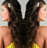 Wholesale Hair Clip Comb Chains - Wholesale - promotion - NEWEST WOMEN'S VINTAGE GOLD SILVER CHAINS FRINGE TASSEL HAIR COMB CUFF WOMEN HEAD CLIPS HAIRBAND