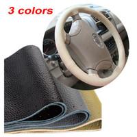 ingrosso copertura del volante in pelle cucita-1PC Coprivolante in vera pelle di vacchetta cucito a mano Accessori per auto grigi, neri, beige. Spedizione gratuita