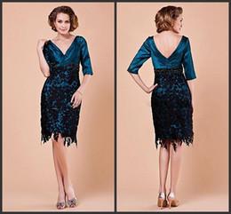 c9d3df73fa 2014 Hot Sale V Neck Custom made Taffeta Knee Length Mother of Bridal  Wedding Gowns Evening Dress knee length lace free shipping