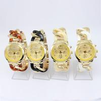 Wholesale Geneva Chain Watches - Lot 50pcs Fashion design new arrival Geneva cowboy chain strap watch 4colors for choice quartz movement luxury men watches DHL free best2011