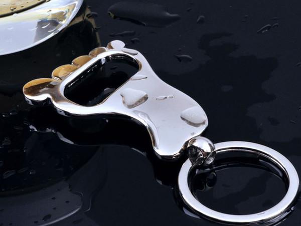 500Pcs / lot Portable personalisierte Fuß Flaschenöffner Keychain Schlüsselanhänger Legierung Hochzeit Party Geschenk