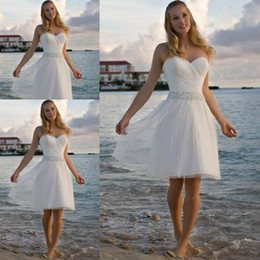 Wholesale Sweetheart Knee Length Dress - High Quality Sweetheart Rhinestone Tulle Short Casual Beach Wedding Dress Bridal Gown Free Shipping 2017