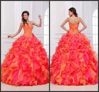 vestido rosa alaranjado venda por atacado-Nova Chegada 2019 Lindo Novo Cristal Frisado Sem Alças Quinceanera Rosa E Laranja Quente Vestidos de Baile de Baile Até o Chão