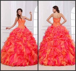 Wholesale organza ball gown beaded strapless - New Arrival 2014 Gorgeous New Beaded Crystal Strapless Hot Pink And Orange Quinceanera Dresses Prom Ball Gown Floor Length