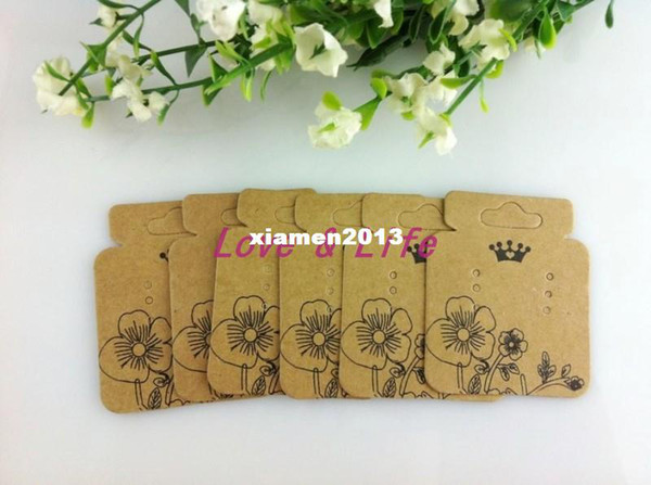 The Sole Custom Earring Display Cards 200pcs/lot Brown With the Print Flower Paper Jewelry Dispaly Tags/Cards From China Design