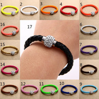 Wholesale Neon Crystal Bracelets - 15 colors 21cm 8mm Fluorescent Neon Color PU Leather Women Fashion Bracelet with Crystal Shamballa Ball Disco Magnetic Clasp