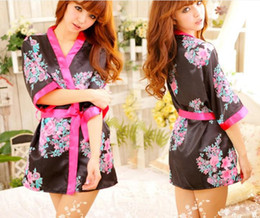 Wholesale Sexy Night Apparel - Sexy women lady silk sleepwear underwear lingerie uniform role play kimono cosplay pajamas nighty night-robe bathrobe with belt Apparel
