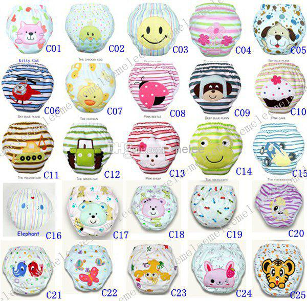 DHL Fedex Cars Spring 3-Layers Waterproof Cotton Baby Potty Training Pants Owl Lady Bug Bee Diapers Zebra Learning Pants U Pick Color & Size