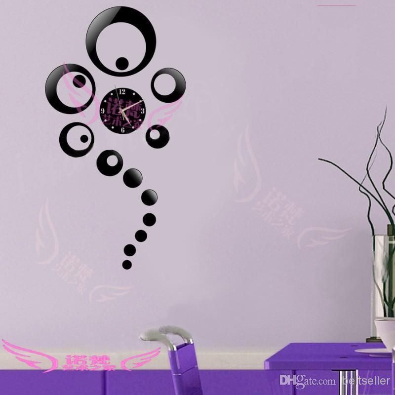 New fashion 3D wall clock Home decoration DIY crystal mirror wall clock antique children's wall art clock
