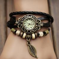 ingrosso orologio in pelle lavorata a maglia-Orologi d'annata del cuoio della mano del cuoio genuino di nuovi arrivi, pendente del foglio degli orologi del braccialetto, Dropshipping libero di trasporto