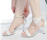 Wholesale Satin White Dress Sandals - Free Shipping New Arrival Summer High Heel Sandals Bowknot Sexy Ultra Woman Party Prom Dress Shoes Bridal White Wedding Dress Shoes