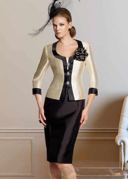 2014 Chic Modern Attractive Sheath/Column Square Neckline Knee-Length jacket Pleat Flower(s) Taffeta Mother of the Bride Dresses
