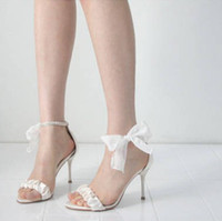 Wholesale Satin White Dress Sandals - 2015 Free Shipping New Arrival Summer High Heel Sandals Bowknot Sexy Ultra Woman Dress Shoes Bridal White Wedding Dress Shoes