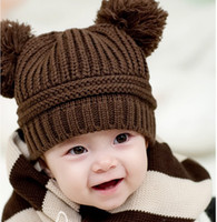 Wholesale Double Ball Knitted Cap - Fashion Baby Winter Warm Beanie Hat Baby Toddler Knitted Double Ball Knitted Cap Children Hats Children Crochet Mouse Cap 5pcs Free Shippin