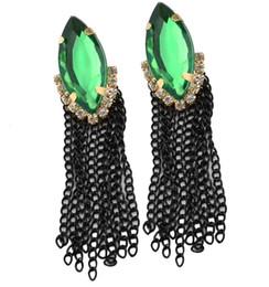 $enCountryForm.capitalKeyWord Australia - New In Girl Jewelry Fashion Gold Plated Metal Green Crystal Black Chains Tassels Stud Dangel Earrings