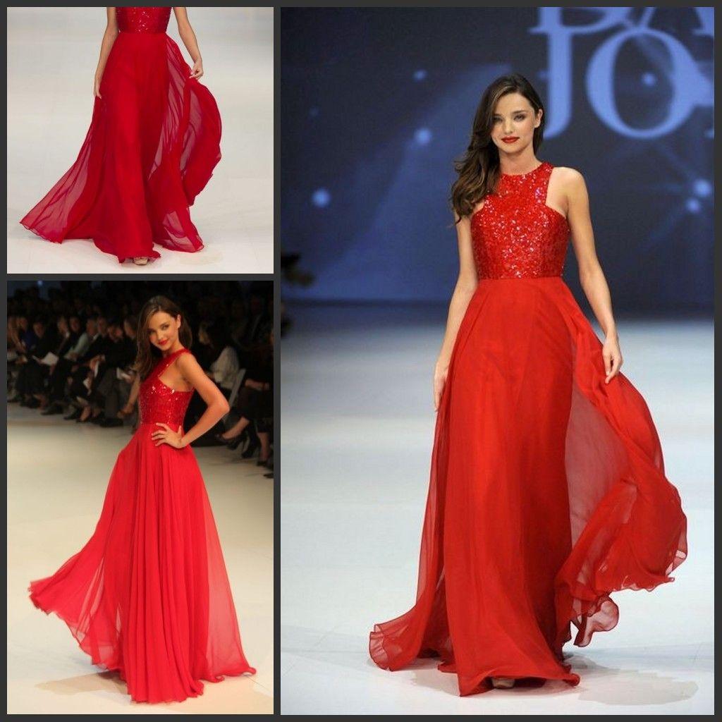 Miranda Kerr Red Sleeveless Chiffon A Line Celebrity Dresses David ...