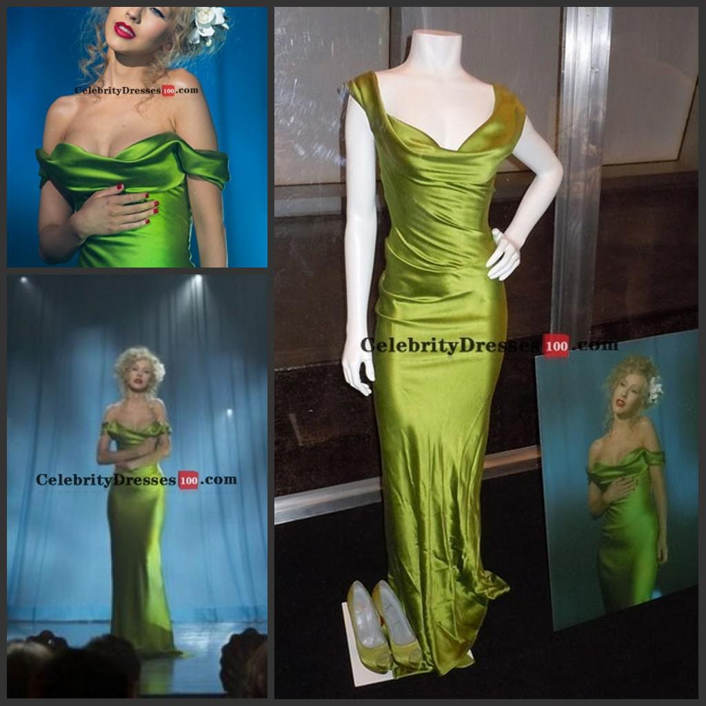 Großhandel Christina Aguilera Green Dress Burlesque Replica Off Die ...