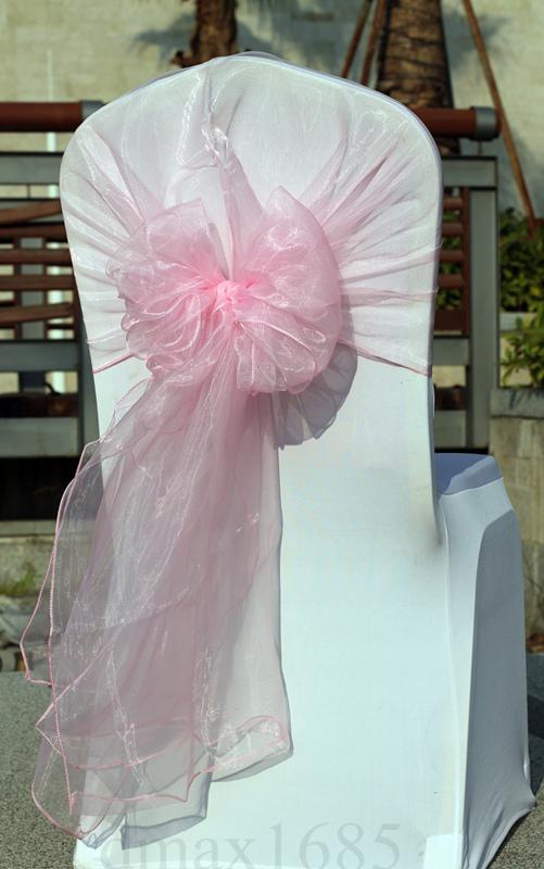 big sash light pink organza chair sashes wedding chair hoods