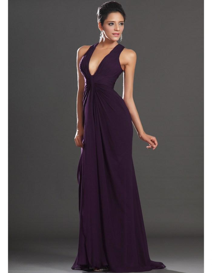 Affordable Mermaid Deep V-neck Floor Length Purple Chiffon Evening Dresses Low Back Discount Evening Gowns Pleats Elegant Prom Dresses