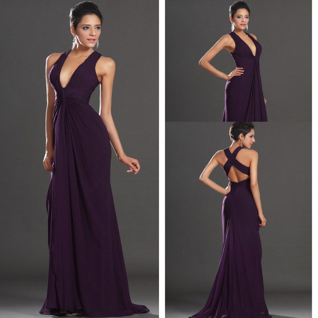 Discount Evening Gowns: Affordable Mermaid Deep V Neck Floor Length Purple Chiffon