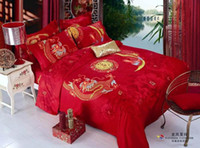 Wholesale Dragon Quilt Set - Red Chinese wedding dragon bedding set queen size comforter duvet cover bed in a bag linen sheet quilt bedclothes bedspread 100% cotton