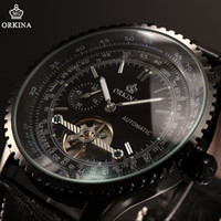 Wholesale Orkina Mens - Classic ORKINA Tourbillion Black Automatic Steampunk Luxury Elegant Genuine Leather Strap Business Mens Mechanical Watch  ORK168