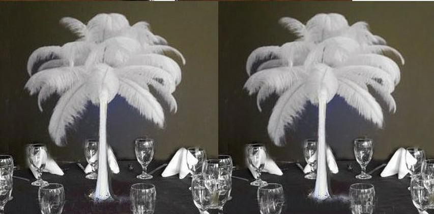 Prefect Natural Ostrich Feather Plume Centerpiece Pure White color Wedding party Decoration Eiffel Centerpieces