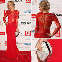Barato Chocolate Tece-2014 New Sexy Samara tecendo Sheer Red Long Sleeves Jewel Sereia Chiffon Prom Celebrity Prom vestidos com Appliques Dingle 01