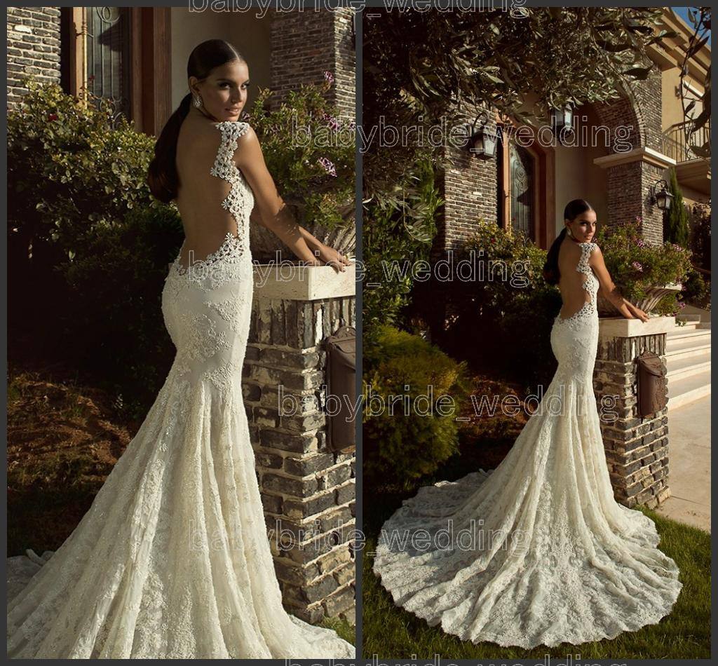 2014 Fashional Mermaid Applique Galia Lahav Empress Graceful White Ivory Lace Tulle Wedding Dresses Backless Bridal Gown Sheer Illusion Back 2015