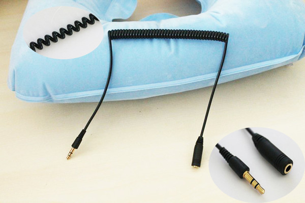 Free Shipping 1m 3.5mm Male to Female F/M Headphone Stereo Spring Coiled Extension Audio Cable for phone headphone 20pcs/lot