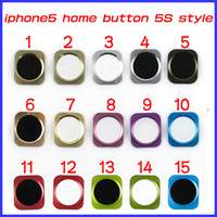 Wholesale Looking For Keys - For iPhone 5 iPhone5 Home Button Key with Metal Ring Look Like iPhone 5S Design Style 15 Colors DHL EMS MOQ100 PCS