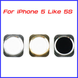 Wholesale home design colors - For iPhone 5 Colorful Home Button Key with Metal Ring iPhone 5S Design Style Navigator 15 Colors 30 pcs lot