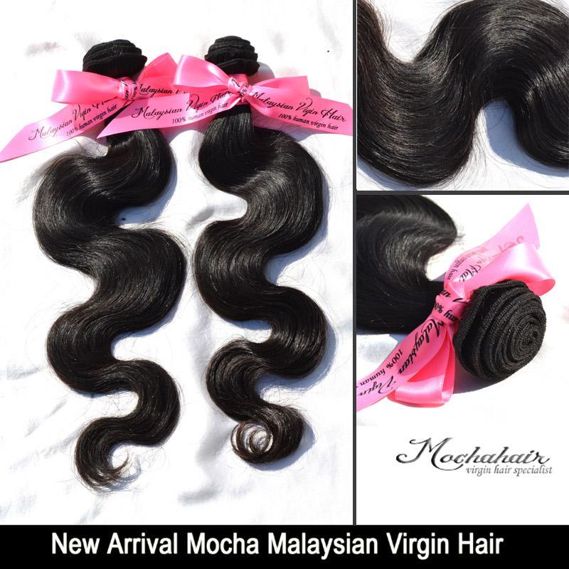 Chegada nova Mocha Cabelo Malaio Onda Do Corpo, Extensão do cabelo Mixesd Tamanho 3 pçs / lote 12-26 Cor Natural de Alta Qualidade