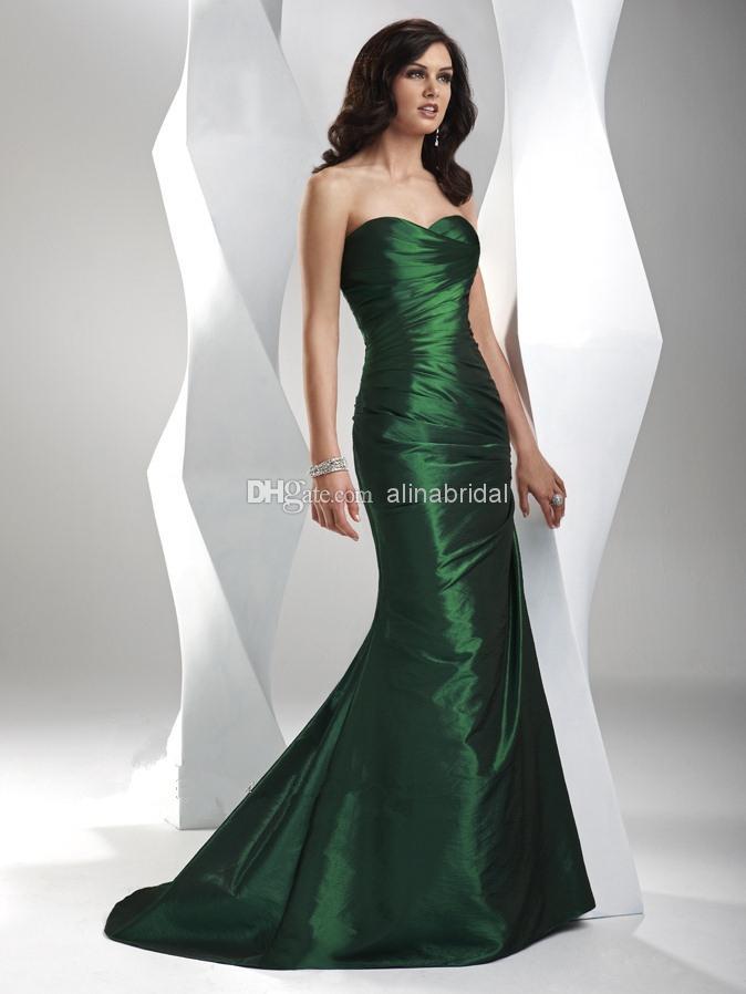 Billiga New 2018 Evening Dresses Sweetheart Mermaid Long Sweep Train Ruffle Lace Up Kvinnors Eleganta Formella Kappor Gratis Frakt Skräddarsy