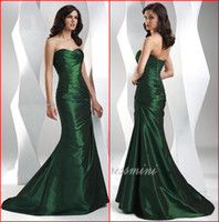 Wholesale Ae Silver - Cheap New 2015 Emerald Evening Dresses Sweetheart Mermaid Long Sweep Train Ruffle Lace up Women's Elegant Formal Gowns Free Shipping AE-144