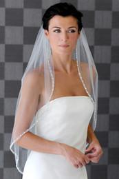 Wholesale String Beads White - 2016 New 1-Layers Crescent edge Handmade string flowers Bridal Veils Wedding Accessories Bridal Veils Online Schleifer