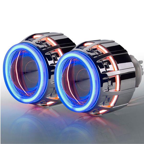 "top popular 3.0"" inch HID Bixenon Projector Lens Double Angel Eye CCFL H1 H7 H4 H13 HB3 HB4 9004 9007 2019"