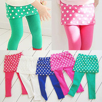 Wholesale Girls Green Skirt Leggings - Special Offer Retail 2013 New Arrivals Autumn Kids Girls Leggings Children's Polka Dot Culottes babys skirt pants