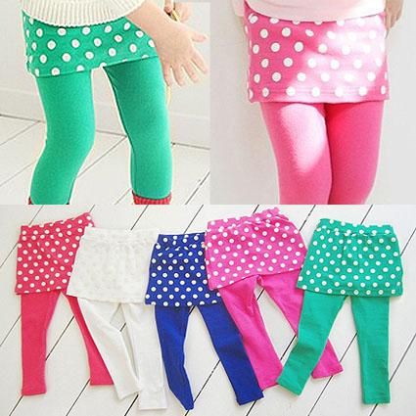 Special Offer Retail 2013 New Arrivals Autumn Kids Girls Leggings Children's Polka Dot Culottes babys skirt pants