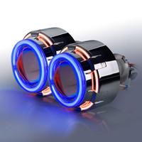 Wholesale Devil Hid - 12C Double angel eye ring-bixenon projector lens light hid xenon kit with CCFL Devil eyes