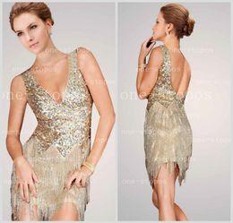 Wholesale Deep V Fringe - 2016 Hot Sexy Deep V Neck Cocktail Dresses Sequins Top Short   Mini Length Beading Fringe Backless Formal Prom Gown Jov171627 20131010