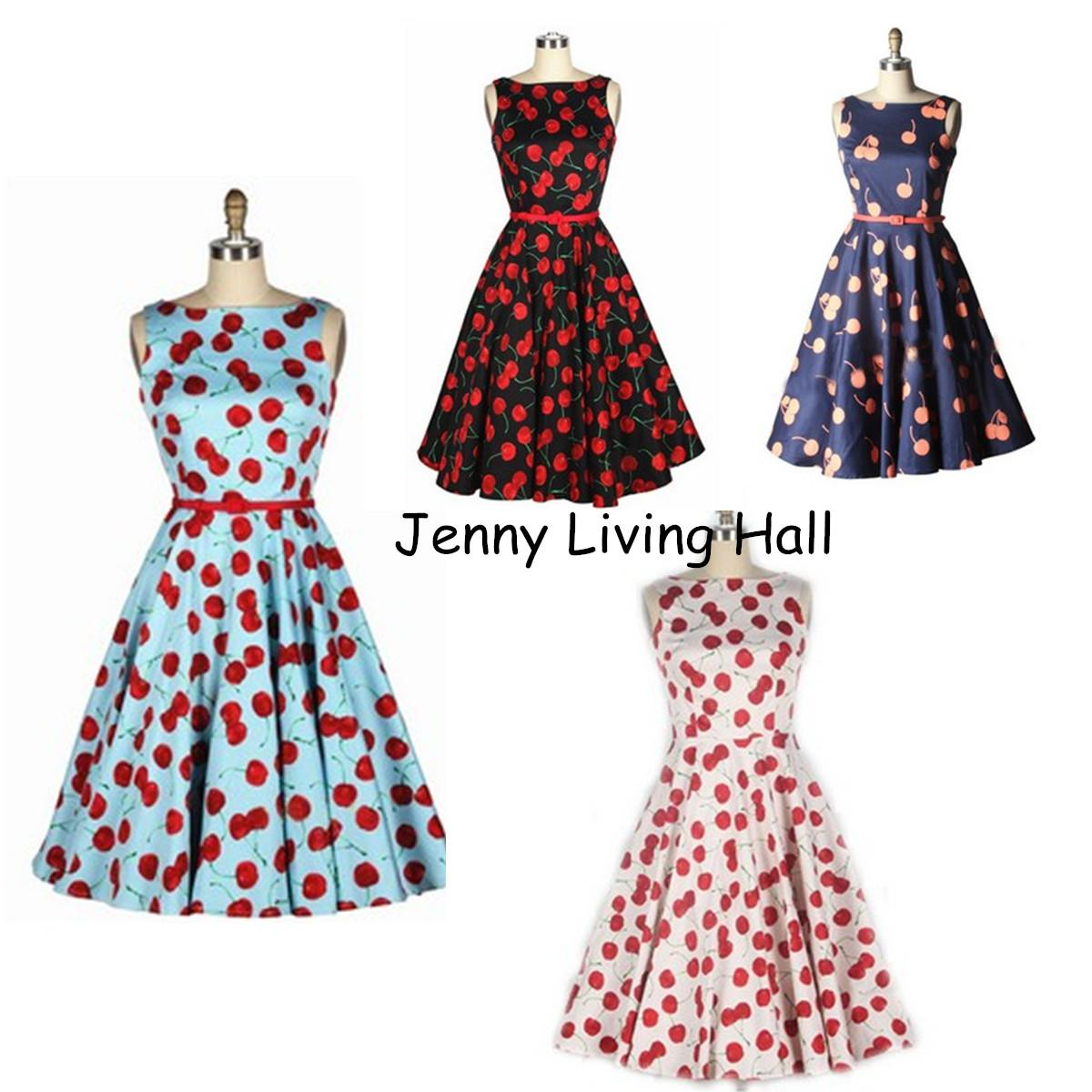European American Style Retro Audrey Hepburn Swing Dress With Red ...