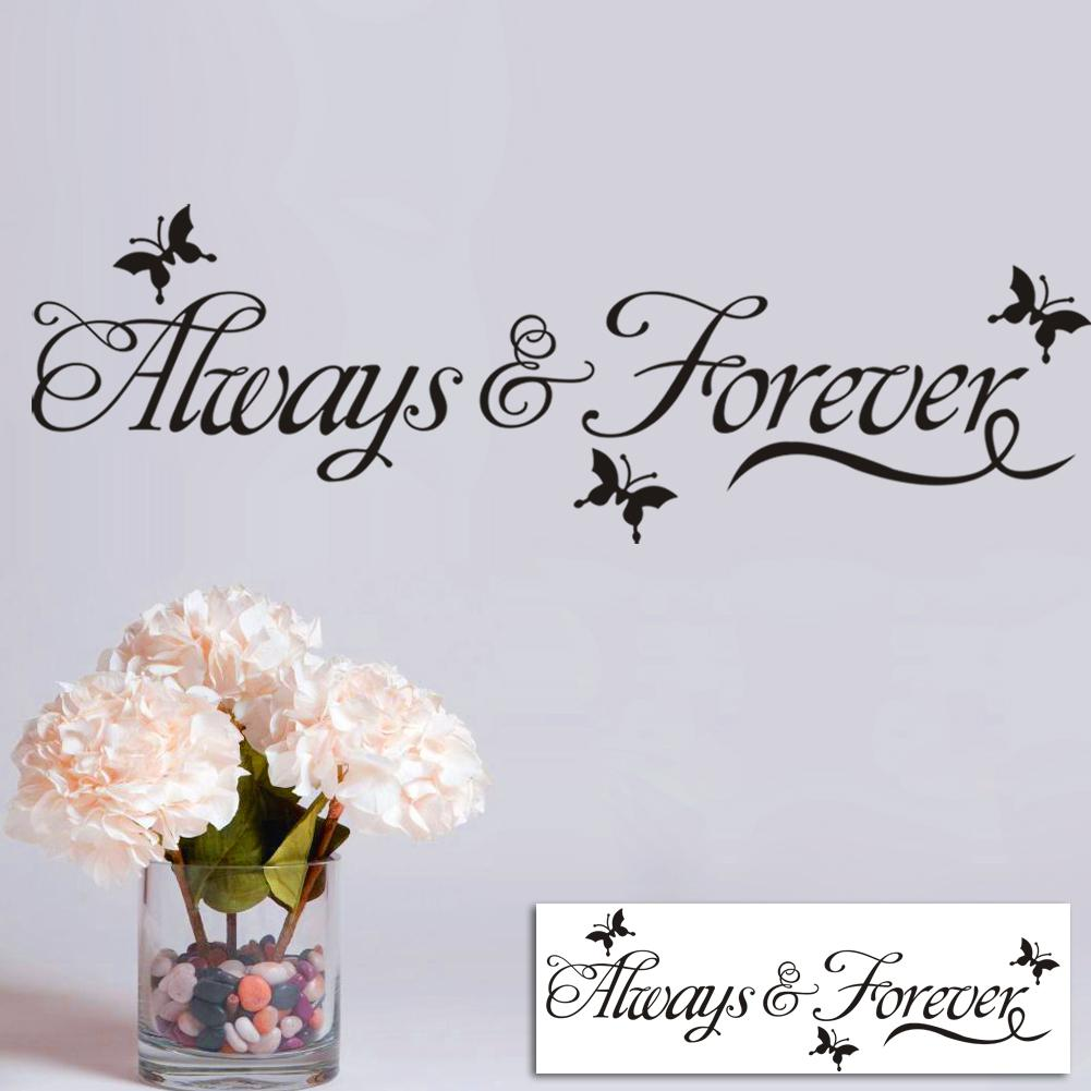 Always forever lettering wall decals art home decor black you can decorate your home without the trouble or expense of paintingeal for dry clean and smooth surfaces simply apply this decal to your wall to amipublicfo Image collections