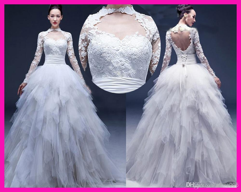 2014 New Design Lace Open Back Long Sleeve Ball Gown Sexy Bridal ...
