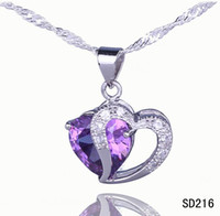 Wholesale Sliver Heart Necklace - 925 Sliver Attractive Amethyst Double Heart Charms Pendant Fit Women Girl Necklace Jewelry Making SD216*5