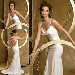 Wholesale Spaghetti Strap Slit Wedding Dress - First Class Quality Sexy Summer Beach Spaghetti Strap Open Back Fitted Flowy Long Wedding Dress Bridal Dress Free Shipping HS220