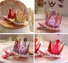 Wholesale Hair Clip Loop - Children Hair Accessories Korean shining crown genuine pearl loop Girls Barrettes Kids Side clip TS113